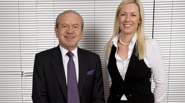 Lord Sugar and Stella English in happier times when she was announced as winner of series six of The Apprentice