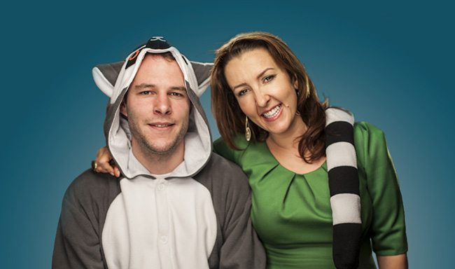 Smarta founder Shaa Wasmund and 2012 winner Tom Cohn, founder of Kigu (complete with onesie!)
