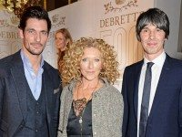 New Debrett's 500 entrant Kelly Hoppen flanked by model David Gandy & Dr Brian Cox