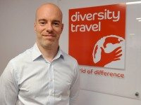 Christopher Airey of Diversity Travel in the company office on the 15th floor at Manchester One, 53 Portland Street, Manchester.  VIDEO TO GO WITH THIS STORY IN THE EDDIE GARVEY FOLDER ON DROPBOX.