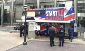 The bus at the Launch at London's Canary Wharf