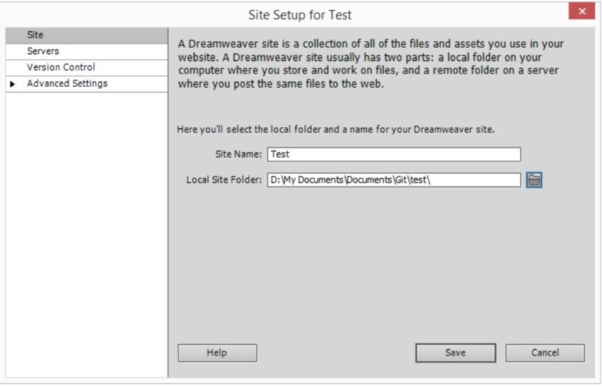 dreamweaver how to use git