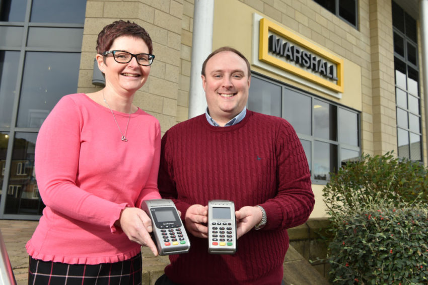 James Howard with Yorkshire Payments client Karen Donnelly of Marshall construction