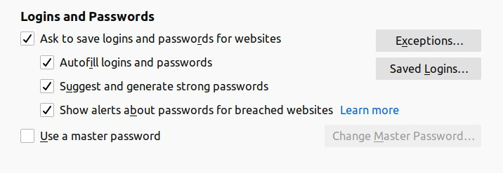 Firefox password