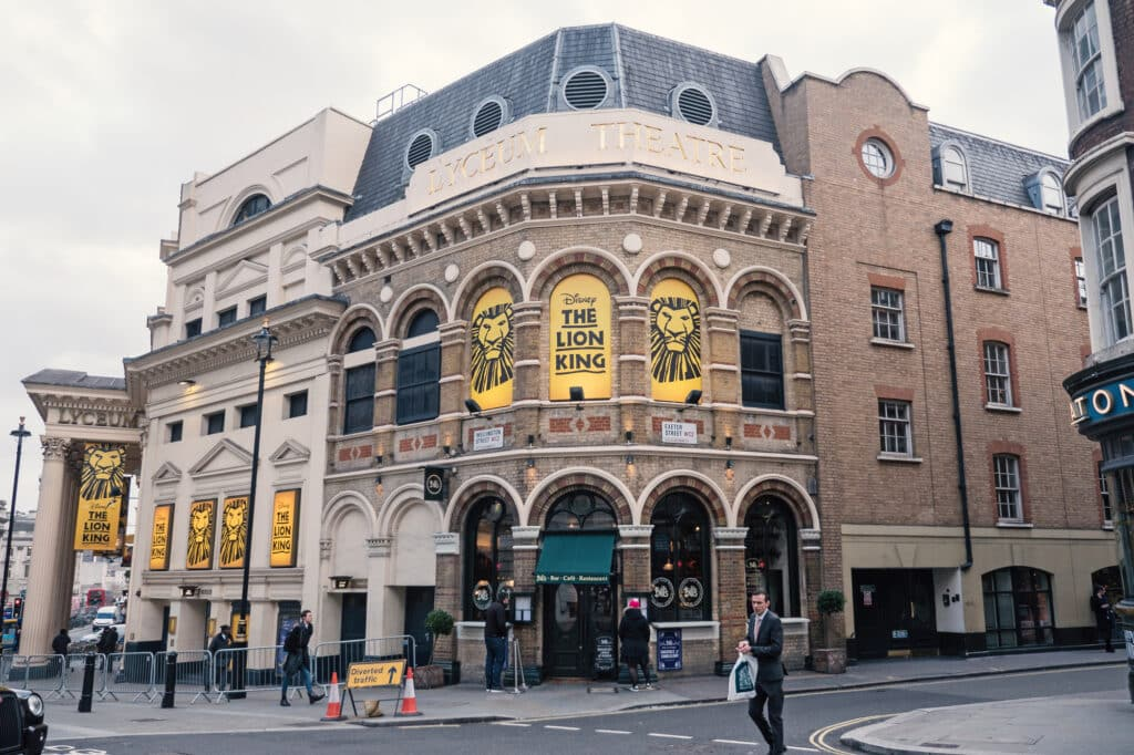 London's Lyceum Theatre displaying the Lion King