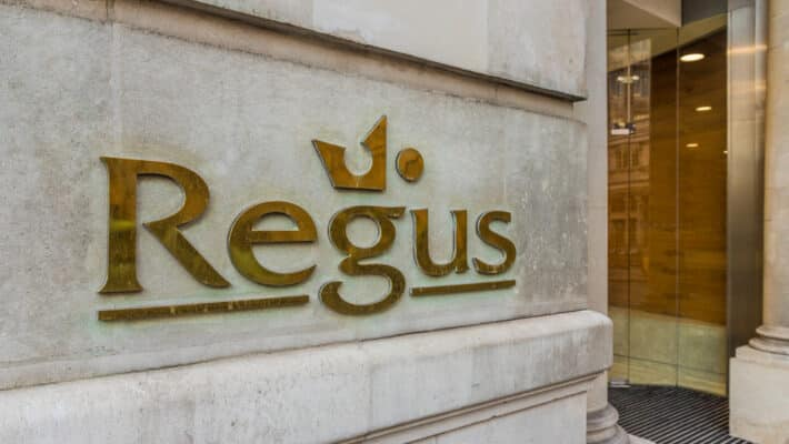 A view of a Regus sign in London