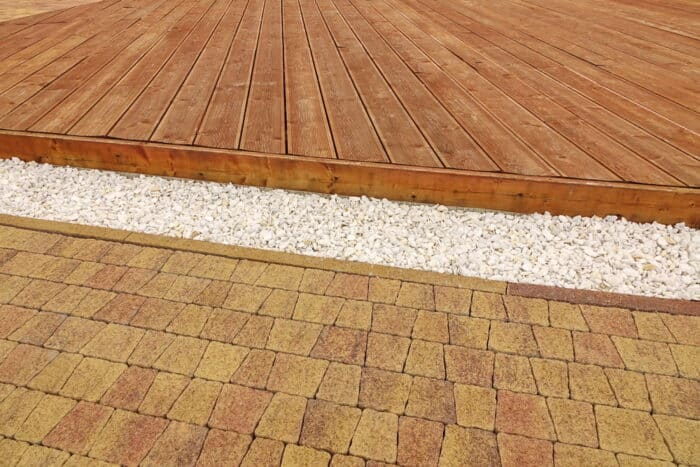 Composite Wood Decking, White Marble Gravel And Stone Brick Pavi