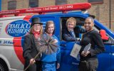 Chimney Sweep, Jessica Hayes, plumbing apprentice, Chloe Sayer, Pimlico Plumbers' Founder, Charlie Mullins and tiler, Wendy Gill