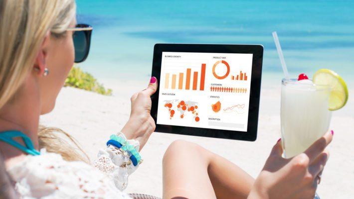 iPad on beach