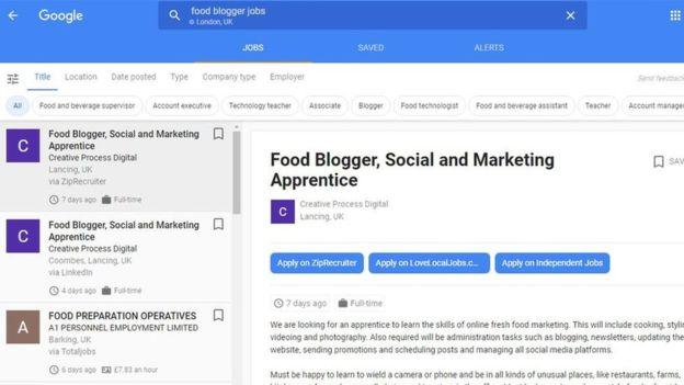 Google lets users search for recent vacancies across a wide range of sites simultaneously
