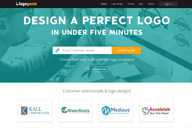 Start designing an online logo today with Logogenie