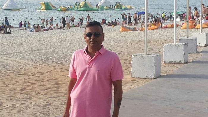 Dhanji Varsani at a beach